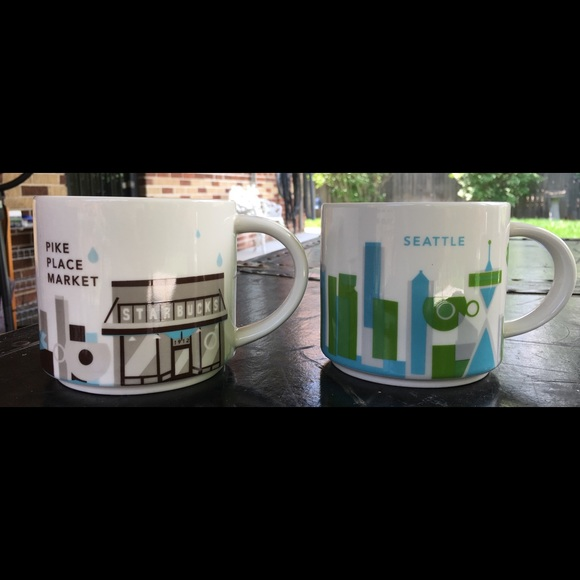 Seattle Pike Place Starbucks You Are Here Mugs